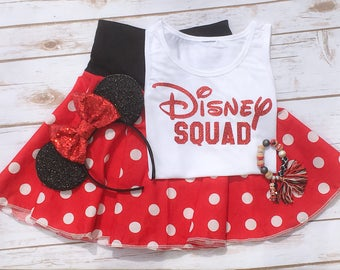 DISNEY SQUAD Sparkly Girls Ladies Kids Women Bodysuit Tank Top T Shirt Raglan - Any Color