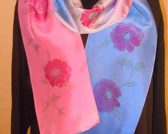 Silk scarf; hand painted scarves; blue scarf; magenta scarf; original design scarf; hand dyed scarf; #S132
