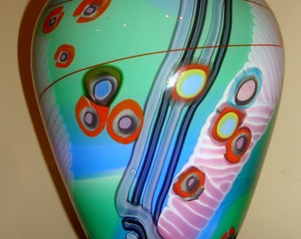 Colorful Vintage Wes Hunting Hand Blown Millefiori Art Glass Vase
