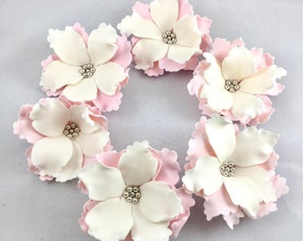 6 Gumpaste open peony flowers  Sugar peonies  Fondant Flowers  Cake toppers  Gumpaste flower  Flower topper  Cupcake toppers  Open peonies