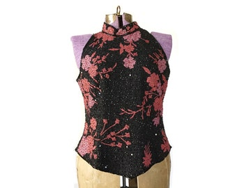1990s top sequin top sequin shell sequin vest large top black red top halter top beaded top sequin tank goth  women's vintage clothing