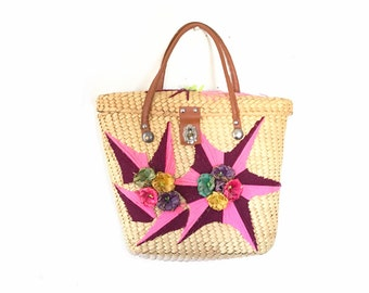 Straw Purse, Straw Bag, Pink Bag, Raffia Bag, boho bag, vintage purse, vintage bag