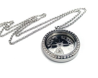 Couples Compass locket - Coordinate Locket Necklace - Valentine's Day gift - Gift for her - I love you locket - I love you necklace