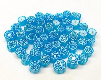 Millefiori Murrano - Transparent Sky Blue 40-50 pieces