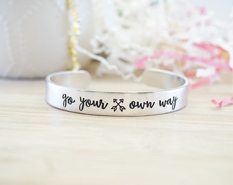 Go Your Own Way Cuff Bracelet - Inspirational Jewelry - Motivational Bracelet - Graduation Gift - Stamped Silver Tone Cuff Bracelet