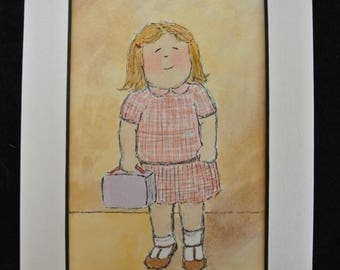 "Original Watercolor Painting Petite Size 5""x7""with Matting item H046"