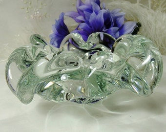 Vintage Murano Abstract Dish // Bowl // Flower // Clear