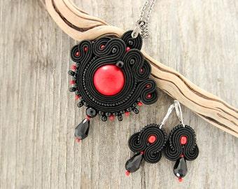 Black soutache pendant, black red necklace, black pendant necklace, hand embroidered  pendant, red pendant, black necklace, black pendant