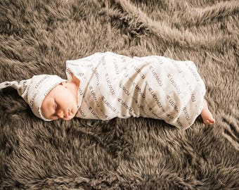 Personalized Swaddle and Top Knot Hat Set in Organic Cotton - You Choose