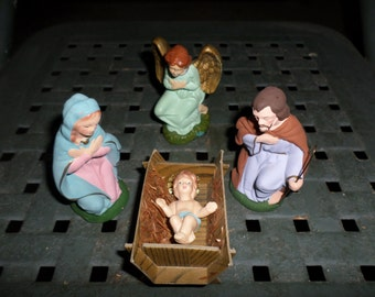 Nativity Scene, nativity Set, composition, 4 figures, Creche, hand painted, putz, Christmas, decoration,Vintage, 1950s,  shiny bright, 1960s