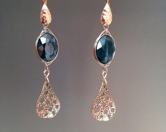 """Blue Crystal earrings ~ Wire wrapped earrings ~ Blue earrings ~ Blue jewelry - Gift for her - Sterling silver earrings  - """"Deep Blue Sea"""""""