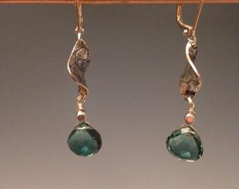 """Smoky Green Quartz earrings, Moss Green earrings -  silver earrings, sterling earrings, jewelry gift, green jewelry - """"Hana"""""""