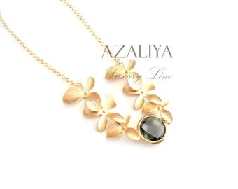 Wild Orchid Necklace in Grey and Gold. Bridal Necklace. Azaliya Luxury Line. Bridal necklace, Bridesmaids Gift.