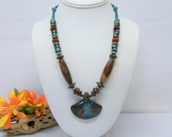 Handcrafted Semi-Precious Stone Pendant Necklace with Turquoise, Carnelian & Jasper Elements