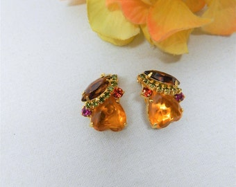 Juliana DeLizza Elster Multi Color Heart & Marquise Rhinestone Clip On Earrings