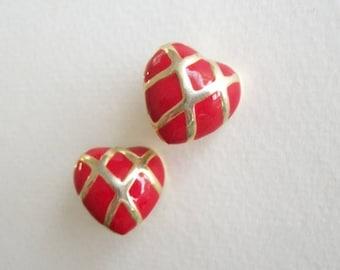 Vintage Earrings Heart Earrings Clip On Earrings Large Red and Gold Toned Earrings Vintage Jewelry