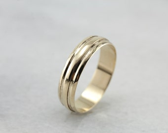 Simple Yellow Gold Wedding Band with Ridged Texture 1UDJAC-D