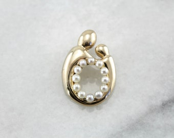 Mother and Child Pendant with Seed Pearl Addition EWXKFZ-P