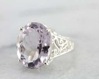 Contemporary Filigree Pale Amethyst Ring in Sterling Silver 4H1VE2-D