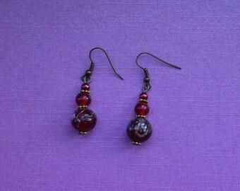 Vintage red earrings, dark red earrings, simple red earrings, red drop earrings, red dangle earrings, gold red earrings, girlfriend gift
