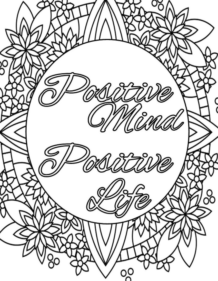 Inspirational quote coloring page to print and color adult for Positive quotes coloring pages
