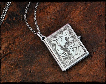 Antique Engraved Silver Locket - Initials ZK