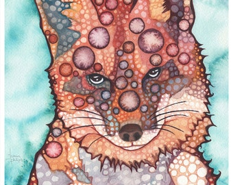 Thoughtful FOX 8.5 x 11 print of adorable watercolor painting artwork in rust red earth tones animal portrait woodland creature forest cutie
