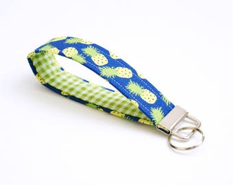 Fabric Wrist Key Fob - Pineapples - Blue - Cute Key Ring Wristlet - 5 Inch Fabric Key Chain Loop - Keychain - Short Lanyard - Key Strap