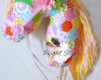 Easter horse - hobby horse - horse on a stick - toy horse - ride on toy - Horse toy - Easter gift - Handmade toy - Handmade horse - toys
