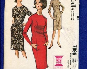 1960's McCall's 7096 Slim Princess Seam Dress with Hidden Pockets Size 16