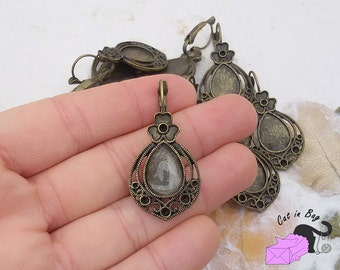 2 Cabochon settings for earrings + 2 glasses 14x10 mm - antique bronze tone - SP89-201