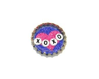 NEW Bottle Cap Magnet - XOXO - Single Magnet