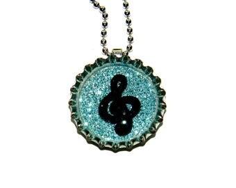 NEW Music Treble Clef - Bottle Cap Necklace