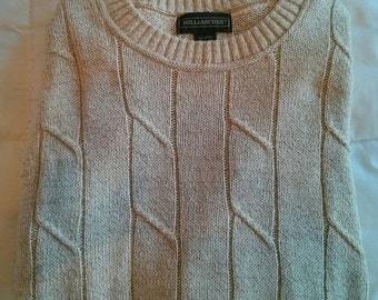 Vintage Hill & Archer Mens Oatmeal Cream Off White Tan Cable Knit Long Sleeve Sweater in Size Medium