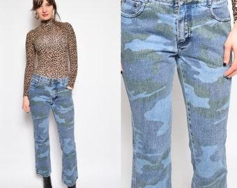 Vintage 90's Blue Denim Jeans /Camouflage Print Blue Jeans /Grunge Denim Jeans - Size Medium