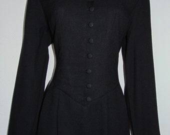 Laura Ashley vintage Winter'93 wool crepe evening knee-length dress, size 14 UK