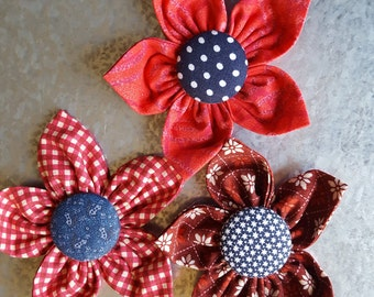 Set of 3 Summer Fabric Flower Magnets - Red and Blue