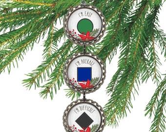 Ski ornament ski sign gift for skier Christmas decoration ski party favors ski marker.