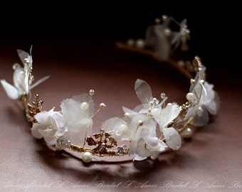 Small flower Wedding Bridal Crown ,  gold Tiara Circlet Headpiece ,Wedding Flower Head Piece, Bridal Crown