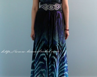 Long Rippling Wave Print Strapless Sheath Formal Long Prom Bridesmaid Honeymoon Dress