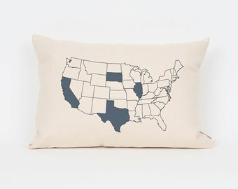 Custom Map Pillow, Personalized State, Travel Pillow, Road Trip, Custom Gift Idea, Gift for Sister, Gift for Friend, Wanderlust, Travel
