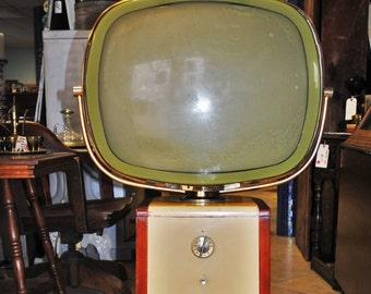 Vintage Philco Predicta Swivel Screen Barber Pole Stand TV