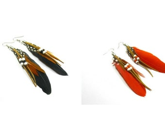 20 % discount/ long Earrings feather/red/black/silver/french hook//cheap/affordable/low price/sale/offer/discount