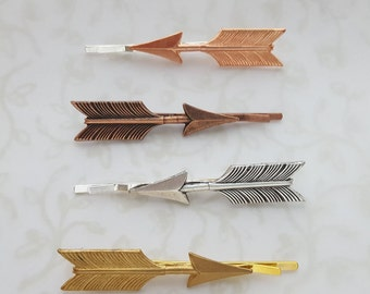 Set of Two Arrow Hairpins Bobby Pins Choose Your Finish; Rose Gold, Copper, Silver, Golden Brass, Boho, Rustic, Woodland