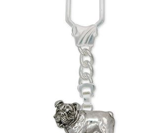 Bulldog Key Ring Jewelry Sterling Silver Handmade Dog Key Ring BD8-KRE