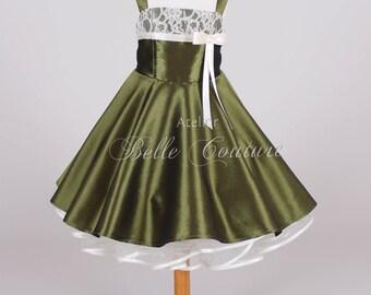 Custom Made & Handmade - Flower Girl Dress Children Dress olive item: Olivia