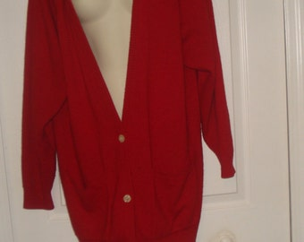 Angora Red Cardigan Sweater Coat V- Neck Women Size L Christmas Lambswool & Angorara