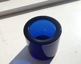 1 IITTALA FINLAND Marimekko KIVI Blue Glass Candle Holder Heikki Orvola Finnish Design maybe ultramarine?
