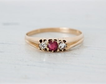 Antique Russian Trio Ring | 14k Rose Gold Band | Victorian Ruby Ring | July Birthstone Jewelry | Stacking Ring | Rose Cut Diamonds Size 5.25