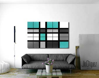 "Original geometric painting. 30x40"". Canvas art. Turquoise blue painting. Modern wall art. Large painting. Office decor."